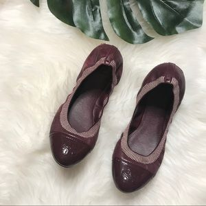 Tory Burch Maroon Patent Leather Accent Flats